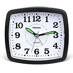 Silent Non Ticking Travel Analog Alarm Clock,Simple Battery Operated Bedside Table Clock Snooze and Light Functions Morning Clock for Kids Men Women Home Bedroom Office Clock (Balck)