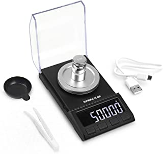 Digital Milligram Scale 50 x 0.001g, Portable Lab Jewelry Reload Powder Gold Scales with Calibration Tare Weights 8068-50G