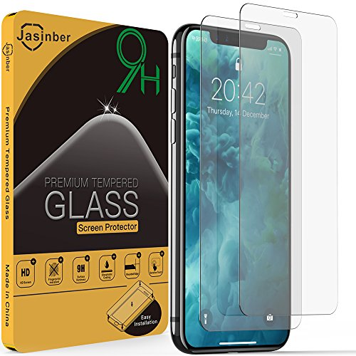 Jasinber 2-Pack Mica de Vidrio Cristal Templado Compatible con iPhone 11 Pro/iPhone XS/iPhone X