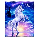 Dawhud Direct Super Soft Full/Queen Size Plush Fleece Blanket, 75' x 90' (Unicorn Kingdom)