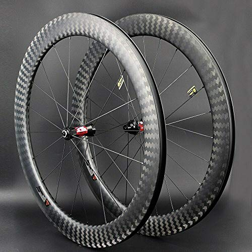 JIMAITEAM 700C Bicycle Wheelset 50mm Depth Clincher Carbon Road Bike Wheels 25mm Width Rim Carbon Fiber Wheelset Dt Swiss 240s Hub (Clincher)