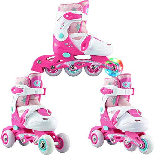 3in1 Kinder Inlineskates/Triskates/Rollschuhe Croxer Missy verstellbar mit LED leuchtendem Rad (27-30 (16,5-19cm))