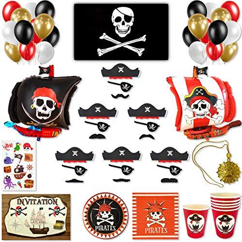 DREANA Kit fête d'anniversaire garçon thème pirates 6pers: Décoration murale (ballons de baudruche bateau pirate) -Vaisselle jetable- Cadeaux (déguisement pirate, collier médaillon, tatouage, drapeau)