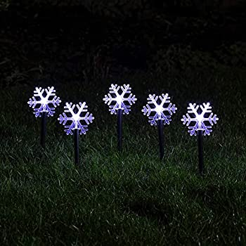 Lights4fun Inc Set of 5 Snowflake Battery Operated Cool White LED Outdoor Christmas Landscape Lights with Timer