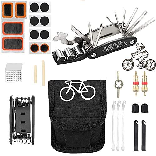MEKEET Fahrrad-Werkzeug-Set, Fahrradreparatur-Set, 16-in-1 Multifunktionswerkzeug, Mountainbike-Zubehör mit Flick-Kit und Reifenhebern zum Radfahren