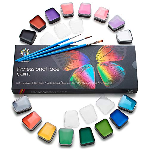 Professional Face Paint Kit for Kids - Non-Toxic & Hypoallergenic - Easy to Apply & Remove - Cosplay Makeup Kit - Body Paint Set