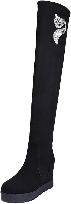BIGTREE Knee High Boots Women Fall Winter Warm Faux Fur Increased Fox Rhinestones Black Wedge Long Boots