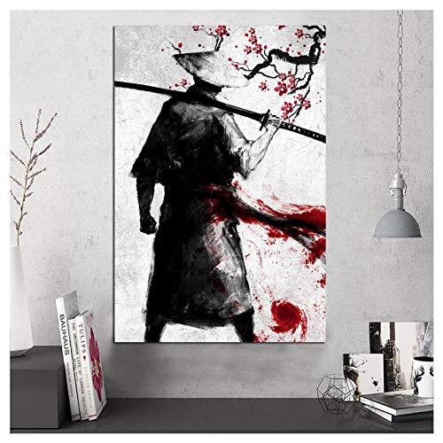Preisvergleich Produktbild Wwjwf Gedruckte Modulare Bilder Wandkunst Poster Coole Samurai Moderne Leinwand Malerei Für Schlafzimmer Home Decoration 60X80Cm Ohne Rahmen