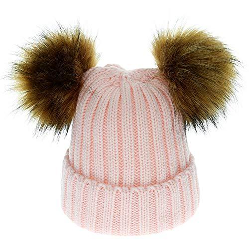Mamum Bébé Bonnet Tricoté Enfants Garçon Filles Chaud Crochet Chapeaux Hiver Doux Turn-Up Tricot Ski Bonnet Skull Slouchy Caps (rose)