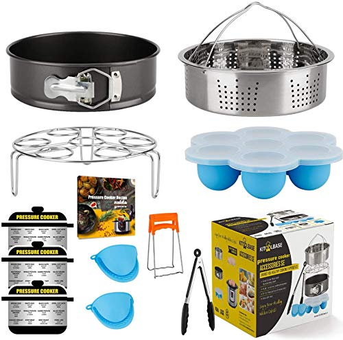 Accessories-Set-for-Insta-Pot, Accessory Compatible with Instant Pot 6 Qt 8 Quart, with Steamer Basket Cheesecake Pan Egg Steam Trivet Silicone Mold Mitts Tong