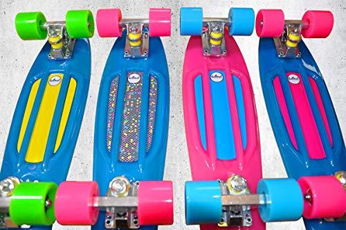 'hellmet Mini Cruiser skateboard 22–Penny tarjeta Style–Longboard–Vinilo Cruiser–Glow Deck–Brilla en la oscuridad–PREMIUM...