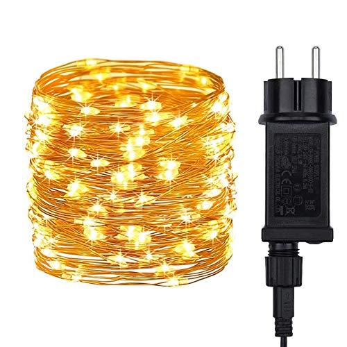 DeepDream LED Lichterkette,20M 200LEDs Lichterkette Kupferdraht IP65 Wasserdicht,Strombetrieben mit EU-Stecker Lichterketten für Innen Außen Weihnachten Partys Garten Hochzeiten,Warmweiß