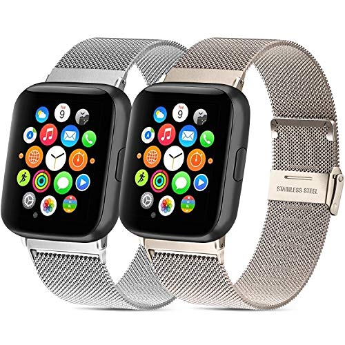 Mugust - Lote de 2 pulseras de acero inoxidable para reloj deportivo Apple Watch Series 6/5/4/3/2/1/SE (38 mm, 40 mm, 42 mm, 44 mm), 06 Argent+Or Champagne, 38mm/40mm
