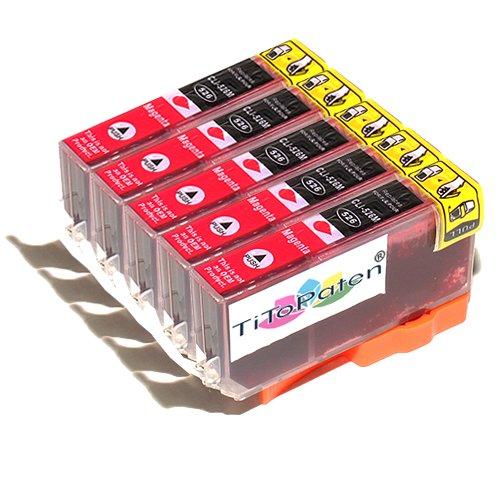 *TITOPATEN* - 5X Canon Pixma MG 6150 kompatible XL Druckerpatrone - Magenta - Patrone MIT CHIP !!!Hohe Laufleistung!!!