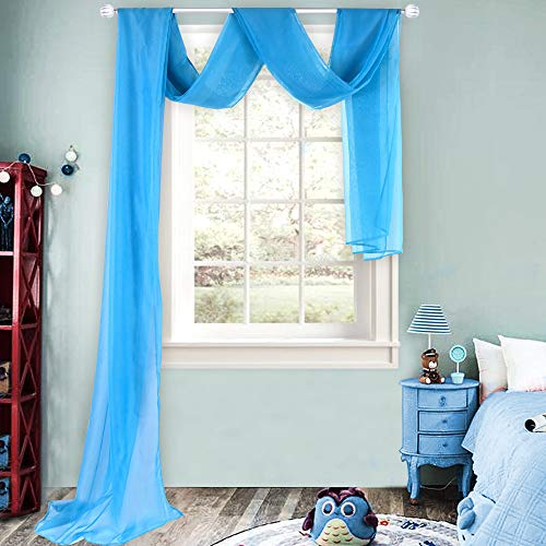 HUTO Blue Sheer Window Scarf Curtains Scarves Valances for Living Room Party Wedding 52 Inches Wide by 216 Inches Extra Long 1 Panel