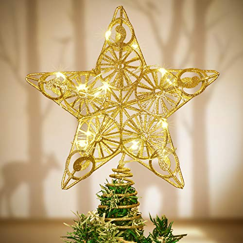 Lvydec Lighted Christmas Tree Topper, Battery Operated Lighted Star Tree Topper Gold Star Christmas Tree Decoration with 2 Lighting Modes, Stay-on and Twinkle, 10.4' X 9.5'