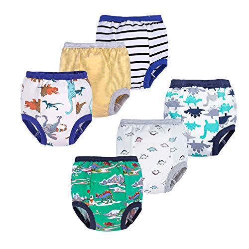 BIG ELEPHANT Unisex-Baby Toddler Potty 6 Pack Cotton Pee Training Pants Underwear (Style D, 4T)