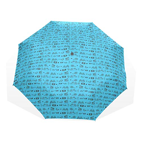 LASINSU Regenschirm,Gekritzel Art Kino Kino Ikonen Kamera Seat Popcorn Clapper,Faltbar Kompakt Sonnenschirm UV Schutz Winddicht Regenschirm