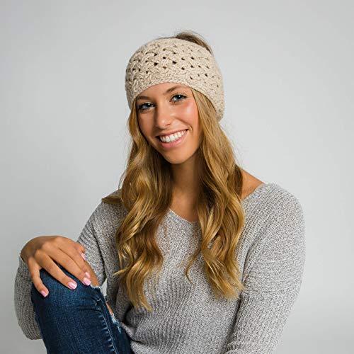 Surhilo Miraflores Alpaca Knit Head Warmer - Ivory Cream - Winter Luxury Handmade Headband