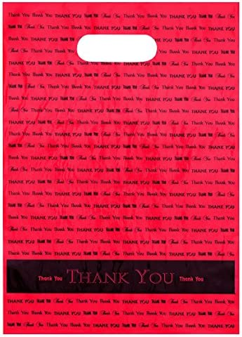 """9x12 Hot Pink""""Thank You"""" Die Cut Handle Plastic Bags 50/cs- Bags Direct Brand"""