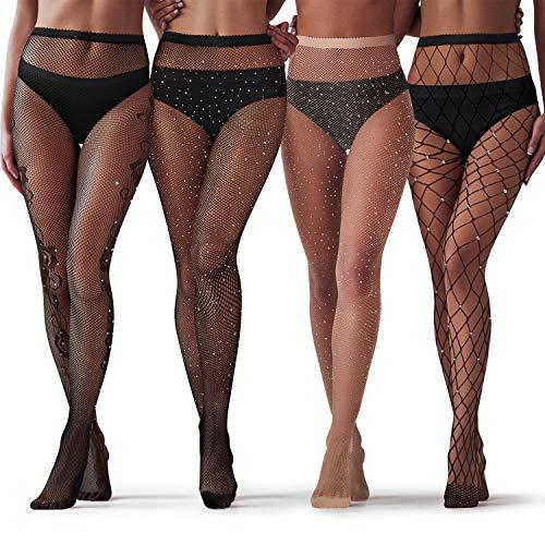SATINIOR 4 Paar Glitzernde Strass Netzstrümpfe für Damen Schwarze Netzstrumpfhose mit Hoher Taille