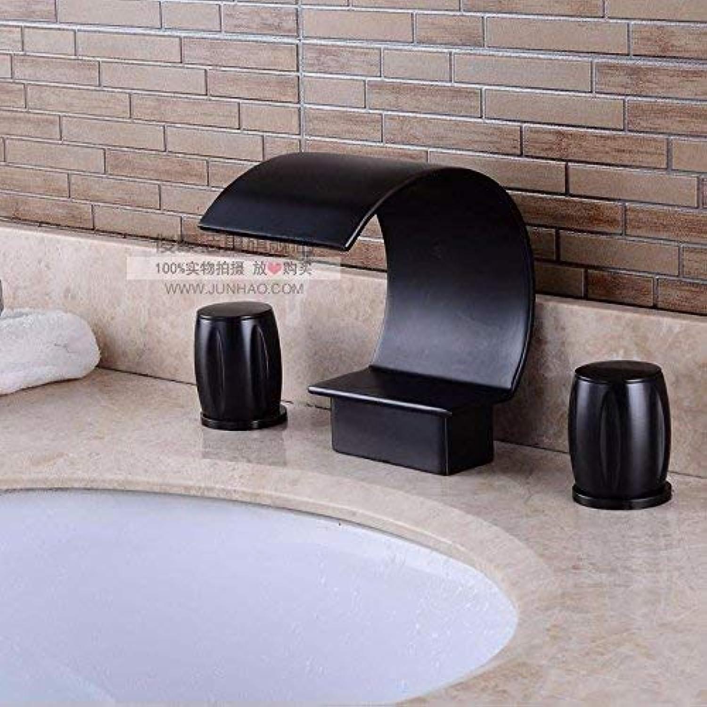 FERZA Home Waschbecken-Mischbatterie Badezimmer-Küchen-Becken-Hahn auslaufsicher speichern Wasser Kupfer schwarz 3 Loch fllt schwarz hei und kalt