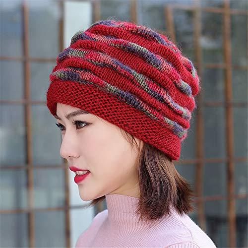 YSDNI Bonnet Tricoté Winter Plus,Protège-Oreilles À Capuchon en Velours,Capuchon Grand Format,Rouge,54-62cm