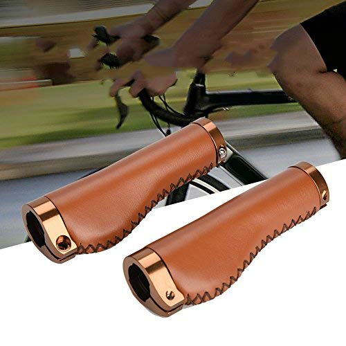AYNEFY Bike Handlebar Grips, Non-Slip PU Leather Bicycle Grips, Ergonomic Design, with Aluminum Alloy Lock Ring, for Mountain Road Bike MTB (Brown)
