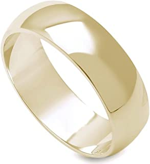 6MM High Polished Stainless Steel Gold Plated Wedding Band-Noureda