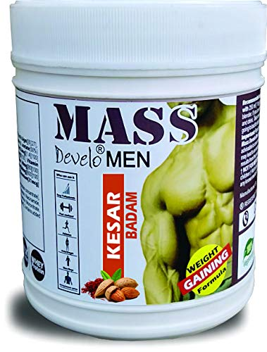 Develo Mass Gainer Original Gym Protein xxl Powder for Lean Muscle Gain in Men with Whey 500gm Kesar Badam Flavour