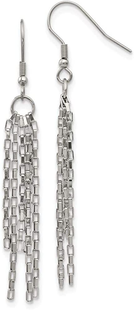 Stainless Steel Multi Strand Link Box Chain Drop Dangle Chandelier Earrings Fashion Jewelry For Women Gifts For Her