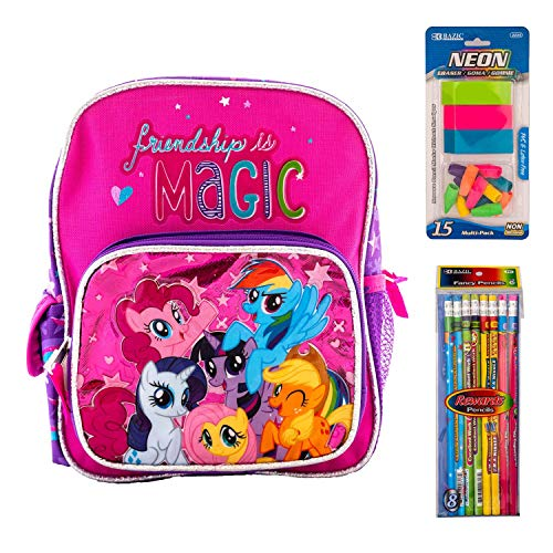 """Little Pony Backpack My Little Pony and Friendship is Magic Book Game Fun Includes Erasers (Small 10"""")"""