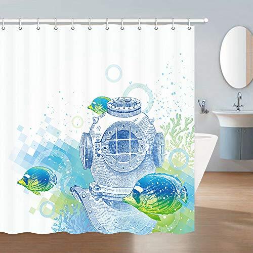 LUODAN U-Boot & FischDekorativer wasserdichter Duschvorhang mit HD-Druck, geeignet für Badezimmer, 12 freie Haken, 180x180 cm