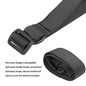 Sangle de sangle suspendue, ceinture de cerclage portable à anneau en D en métal solide, pratique pour les outils d'extérieur d'été pour le pique-nique pour la fête en plein air pour le(le noir)
