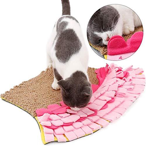 XIAOYU Mermaid Schwanz Pet Snuffle Matte für Katzen, Katzen Scratcher Mat, Natur Jute Kratzbrett, Haustier Snuffle Feeding Matte, fördert die natürliche Nahrungssuche Fähigkeiten für Hunde Katzen
