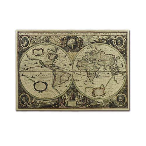 Motto.h Vintage Mapa Mundo decoración Mural Antiguo