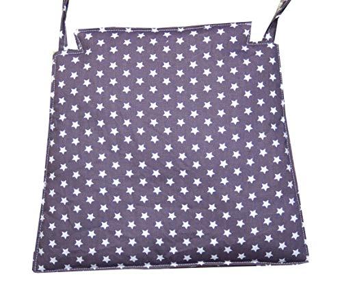 Stuhlkissen grau mit Sternchen, Sitzkissen für Kinderhochstuhl IKEA Hochstuhl, Sitzbezug, grau Sterne C-Fashion-Design