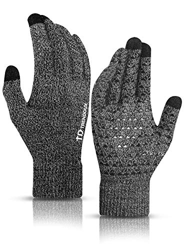 TRENDOUX Winter Gloves, Touch Screen Knit Glove for Men Women - Running Driving in Cold Weather - Non-Slip Grip - Thermal Liner - Elastic Cuff - Premium Material - Outdoor Riding - Black Gray - M