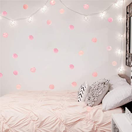 Amazon Com Pink Polka Dot Wall Decals Dots 36 Decals Wall Sticker For Kids Baby Girls Teens And Nursery Room Home Improvement