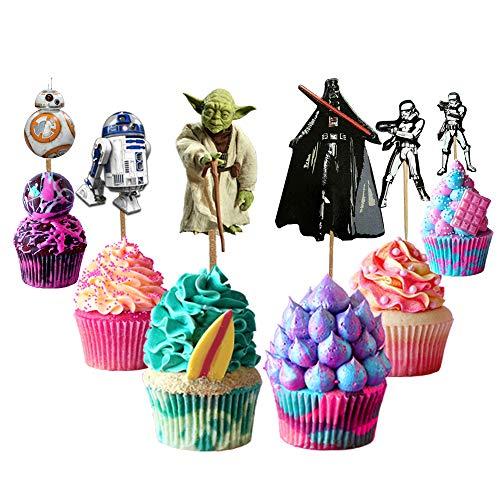 Star-Wars-Tortenaufsatz, 48 Stück, Star Wars Happy Birthday, Partyzubehör für Star-Wars-Fans, Kuchendekorationen für Kindergeburtstag