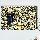 QAQTAT Minions Movie Character Carteles e Impresiones Cuadros de Pared Arte de la Lona Pintura Inicio Decoración de Pared 40 * 60cm (Sin Marco)