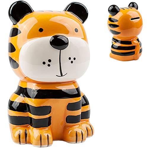 alles-meine.de GmbH große XL Spardose - süßer Tiger - stabile Sparbüchse - aus Porzellan / Keramik - mit Verschluss - 18 cm - Sparschwein - für Kinder & Erwachsene / lustig witzi..