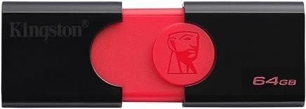 Kingston DataTraveler 106 DT106/64GB Flash Drive da 64 GB, USB 3.0, Rosso/Nero