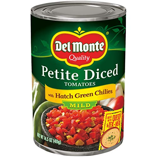 Del Monte Petite Diced Tomatoes with Hatch Green Chilies, 14.5-Ounce (Pack of 12)