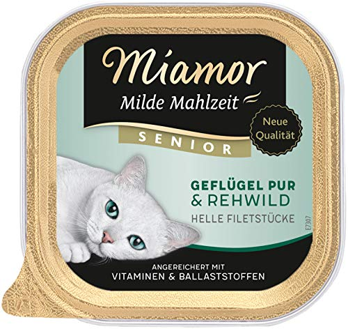 MIAMOR Milde Mahlzeit Senior-Geflügel Pur & Rehwild 16x100g