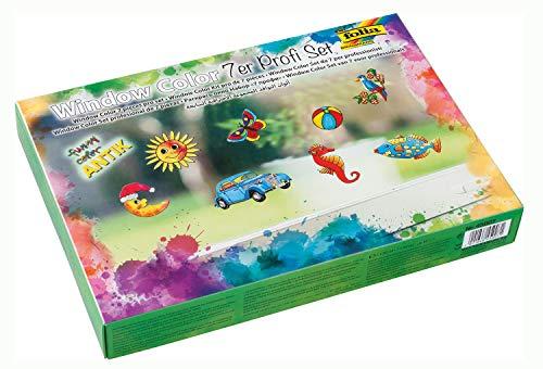 folia 45007 - Funny Window color ANTIK Profi Set 7er Set, Ideal zur Gestaltung von farbenfrohen Fensterbildern