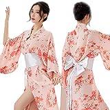 Kimono Cardigan Mujeres Japonesas Estilo Chino Bata Japonesa Bata Kimono Pijamas Camisón,Pink OneSize