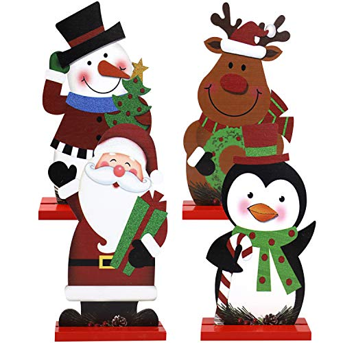 Iceyyyy Christmas Table Sign - 4Pcs Christmas Table Top Sign Decorations Holiday Xmas Snowman Santa Reindeer Sign Ornaments for Dinner Party Table Top Fireplace