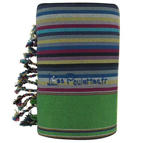 LES POULETTES Kikoy Toalla de Playa de Algodón con Rayas - Color Azul Oscuro Verde - Azul Marino