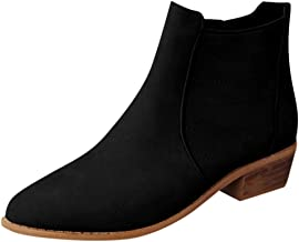 Opinionated Ankle Boots for Women Slip On Loafers Pointed Toe Chunky Block Low Heel Office Dress Casual Shoes Booties